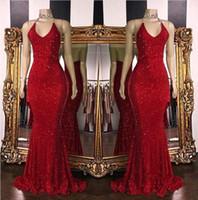vestido de baile longo com pérolas vermelhas venda por atacado-2019 New Red Sparkling Lantejoulas Sereia Longos Vestidos de Baile Halter Frisado Backless Sweep Train Formal Vestidos de Festa À Noite