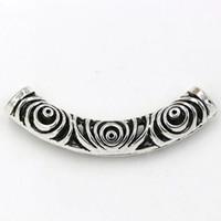 ingrosso collana in perle di tibet-Caldo ! 20pcs argento tibetano in lega di zinco tubo curvo distanziatore perline 14x52.5mm collana adatta accessori fai da te