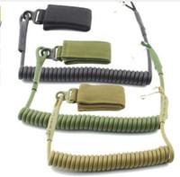 silah kordonu askısı toptan satış-Molle Airsoft bobin sapan askeri elastik kemer bahar kayış sırt çantası halat İpi silah tabanca çekim avı tabanca aracı