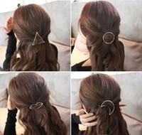 ingrosso gioielli triangolo a cerchio-Promozione Trendy Vintage Circle Lip Moon Triangolo Hair Pin Clip Tornante Pretty Girls Girls Metal Accessori per gioielli