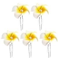 barrettes em forma de u venda por atacado-5 Pcs Em Forma de U Plumeria Flor 4.5 CM Grampo de Cabelo Barrette Grampos de cabelo havaianos para o casamento na praia Verão Férias de piquenique à beira-mar