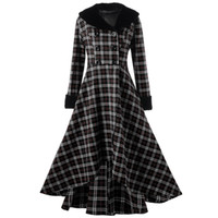 casaco xadrez em lã mais tamanho venda por atacado-Kenancy Plus Size Inverno Xadrez Vermelho Casaco Das Senhoras Das Mulheres Top Double Breasted Xadrez Balanço Longo Fino Casual Casaco De Lã Casaco Outerwear