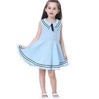 lacivert tarzı bebek elbiseleri toptan satış-Kalite Bebek Kız Butik Giyim Prenses Pamuk Donanma Tarzı Yay Elbiseler Kızlar Etek Kız Kostüm Çocuk Parti Giyim 5 renkler XZT049