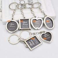 kalp şekli anahtarlık toptan satış-100 adet 6 stilleri Fotoğraf Çerçevesi Yuvarlak Kalp Apple Oval Eşkenar Dörtgen Şekli Metal Alaşım Anahtarlık Anahtarlık Anahtarlık Araba Anahtarlıklar Çiftler Anahtarlık Hediye