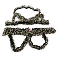 abra o gancho leopardo venda por atacado-Mulheres Leopard Lingerie Sexy Underwear Suit Leopard Tentação Bra + Abrir Crotch Calças Set