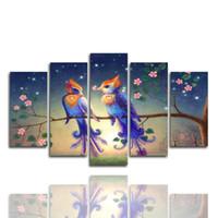 decoração dos pássaros do amor venda por atacado-(Apenas Canvas No Frame) 5pcs Pássaros do amor na árvore da flor de parede Art HD Impressão em tela pintura Moda pendurar quadros para decoração do quarto