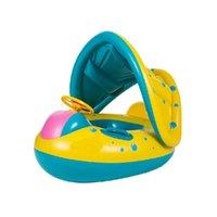 cavaleiros do bebê venda por atacado-Inflável Macio Piscina Anel de Natação Flutuador Rider Barco com Destacável Sol Canopy Sombra brinquedo para o Infante Da Criança Criança Crianças