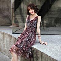 cheongsam vestido de baile curto venda por atacado-Oversize 3XL Mulheres Partido lantejoulas Star Dress Prom curto minimalista V-Neck Qipao Vestidso mangas Sexy A-Line Cheongsam