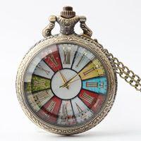 antigo relógio de bolso venda por atacado-Caso de vidro Relógio de Bolso Colar Homens Mulheres Steampunk Cadeia de Bolso Relógios Numerais Romanos do vintage de Quartzo Relógio de Bolso Frete Grátis