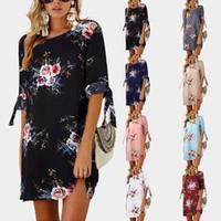 túnica de praia mais tamanho venda por atacado-2018 mulheres summer dress estilo boho impressão floral chiffon beach dress túnica vestido de verão solto mini party dress vestidos plus size 5xl