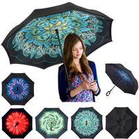 ручные стенды оптовых-C-рука ветрозащитный обратный двойной слой перевернутый зонтик наизнанку самостоятельной стенд ветрозащитный зонтик 17 цветов MMA1207 200шт