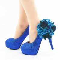 bombas de color azul damas al por mayor-2019 Hermosos zapatos de vestir de boda Royal Blue Color Rhinestone Party Prom High Heel Shoes Handmade Lady Anniversary Party Pumps Plus Size