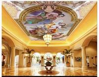 pano de pintura de árvore venda por atacado-3D personalizado zenith mural papel de parede foto decoração de interiores HD europeu quente anjo sala zenith teto mural fundo parede