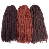 Wholesale ombre kinky braiding hair resale online - Ombre Crochet Braids Hair Ombre Afro Kinky Kanekalon Synthetic Marley Braiding Hair Crochet Hair Extensions Bulk inch