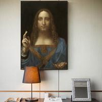 Wholesale decorative figure art painting for sale - Group buy Salvator Mundi Wall Art Canvas Paintings By Leonardo Da Vinci Famous Home Decorative Canvas Paintings For Living Room