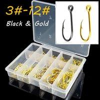 50 Pcs Fishing Sharpened Hook Tackle 10 Size #3-#12 Black Golden  Black Color KW