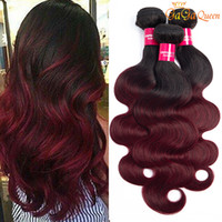 Wholesale two tone red hair bundles online - Ombre Body Wave Hair Bundles Two tone Color B J Burgundy Wine Red Body wave Brazilian Ombre Human hair Gagaqueen