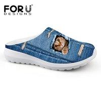 ingrosso stampe animali zapatos-Beach denim Scarpe in mesh traspirante Sandali Cute Animal Cat Dog Stampa Slip-on Sandalias Zoccoli uomo Flats Slipper Zapatos # 161712