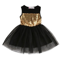 Wholesale casual beach style wedding dresses resale online - Princess Toddler Kids Sequins Sleeveless Lace Tutu Mini Dress Baby Girls Casual Party Wedding Pageant Ball Gown Dresses New Y