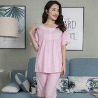 9f83421314a8 Wholesale green cotton nightgowns online - YF206 cotton breathable pajamas  round neck double buckle cute casual