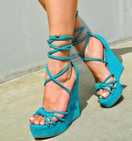 blaue high heel schuhkeile großhandel-Mode Luxus Designer Frauen Gladiator Sandalen blaues Kreuz Riemchen Keil Schuhe Plattform High Heels Größe 35 bis 40