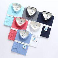 saf pamuk gömlek erkek toptan satış-Erkek Elbise Saf Pamuk Gömlek Slim Fit Moda Uzun Kollu Casual İş Gömlek Medusa # 9704 Erkekler Katı Yüksek Kalite Ekose Sosyal Gömlek