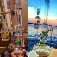 ingrosso filtro a tre strati-Big Fashion Glass pipe per fumatori acqua Bong con Ash Catcher Three Layers Filter Gear e perline Percolator Recycler Oil Dab Rig Immagine reale