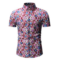 цветы короткие оптовых-Mens Casual Flower Print Hawaiian Shirt 2019  New Short Sleeve Floral Shirt Men Summer Beach Shirts for Men Chemise Homme