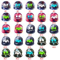 gorra coreana de beisbol al por mayor-24 diseño DJ Marshmello Hat Game Around The Starry Hat Flat Cap Versión coreana de hombres y mujeres Visor Canvas Baseball Cap ajustable