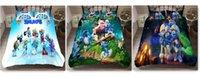 juegos de cama edredón azul al por mayor-Dibujos animados para niños Juegos de edredones de plumas azules de Elf 3D, cama doble, juego completo, cama de matrimonio, cama de rey