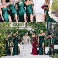 Wholesale Hunter Green Different Style Long Bridesmaid Dresses Plus Size African Ruched Wedding Guest Dress High Split Maid Of Honor Gown AL4150