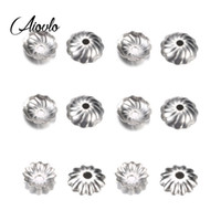 колпачки для цветов оптовых-Aiovlo 50pcs/lot Stainless Steel Hollow Flower Bead Caps End Caps Accessories for DIY Jewelry Findings Making Supplies