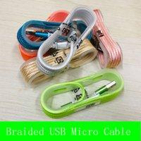 tipos de plugue de telefone celular venda por atacado-Trançado USB Micro Cable 1.5 M 5FT Cabeça de Metal Plug Tipo C Cabo para Samsung HTC Sony LG Celular