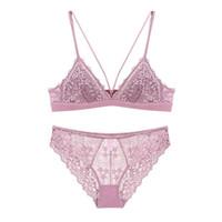 4 colors wire free lace sexy sleepwear small underwear for women cross  Bralette girls bra Briefs triangle cup cotton brassiere sets b5dd05fc1
