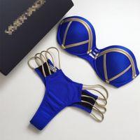 mavi bikini bandeau toptan satış-2018 Seksi Bandeau Tanga Bikini Set Şınav Mayo Halter Üst Kadınlar Için Mavi Altın Damgalama Mayo Yastıklı Kadın Mayo Y19051801
