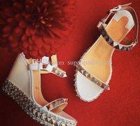 zarif beyaz düğün ayakkabıları toptan satış-Zarif Stil Kadın Kırmızı Alt Ayakkabı Beyaz Deri Pyraclou Cataclou Platformu Takozlar Seksi Bayanlar Yüksek Topuklu Moda Parti Gelinlik