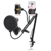 ingrosso bracci del braccio-Microfono di registrazione professionale Sospensione Boom Scissor braccio del supporto microfonica supporto della staffa Per K canzone con i telefoni Holder