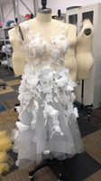handbild blumen großhandel-100% reale Abbildungen 2019 Abendkleider Hand Made 3D Flower Sleeveless Tüll Prom Kleider Mode Maxikleid Nur Einer Auf Lager Größe