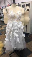 les images s'habillent d'une main achat en gros de-100% vraies images 2019 robes de soirée fait à la main en 3D fleur sans manches robes de bal en tulle robes maxi mode seulement un en stock