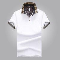 camisetas masculinas al por mayor-Ventas calientes Camisa de diseño de lujo para hombre Verano Cuello vuelto manga corta Camisa de algodón Hombres Top