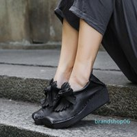 Wholesale black patent thick soled shoes resale online - Skillful2019 Ancient Return Thick soled Shoes Woman Genuine Slope With Deep Soft Leather Square Single Shoe
