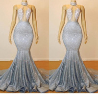 backless vestidos de fiesta de plata al por mayor-Plata gris lentejuelas sirena vestidos de baile 2019 Sexy Keyhole cuello sin espalda vestidos de noche corte tren mujeres vestidos de fiesta BC0679
