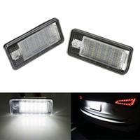 audi a4 b6 led lumières achat en gros de-2 PCS LED numéro de plaque d'immatriculation lumière 18SMD Canbus aucune erreur pour Audi A3 A4 S4 B6 B7