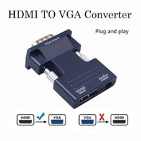 Wholesale pc adapter rj45 resale online - HDMI Female to VGA Male rj45 Converter with Audio Adapter Support P Signal Output for Multimedia PC Laptop TV Monitor Projector