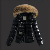 jaqueta de pele coreana venda por atacado-QUENTE! Gola de pele de guaxinim inverno coreano moda Slim jaqueta de algodão curto parágrafo mulher jaqueta de couro