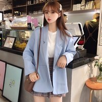 blaue koreanische jacke groihandel-Blau Korean 2019 Frauen Aufmaß Blazer Elegante Solid Color Blazer und Jacken Femme beiläufige Chaqueta Mujer Bleiser Feminino