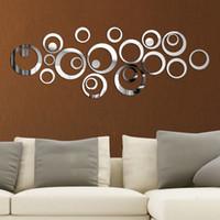 televisores espejo al por mayor-24 unids / set círculos de acrílico etiqueta de la pared 3d diy decoración de la pared pegatinas de pared espejo para la televisión de fondo de arte decoración para el hogar