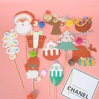 bebek yılbaşı dekorasyonları toptan satış-Noel Kağıt Fotoğraf Sahne Cadılar Bayramı Günü Renkli Kafatası Başkanı Çocuklar için Mutlu Parti Süslemeleri Bebek Duş