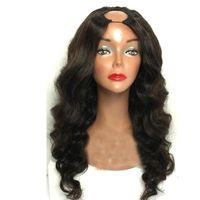 Wholesale real indian human hair wigs online - u Part Brazilian Wavy Wigs For Black Women Glueless Virgin Brazilian Real Remy Body Wave Human Hair U Part Wig