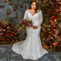 Wholesale classy lace long sleeve for sale - Group buy Classy Plus Size Mermaid Lace Wedding Dresses V Neck Long Sleeves Country Bridal Gowns Sweep Train Trumpet Vestido De Novia